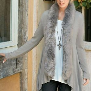 Soft Surroundings Cardigan with faux fur
